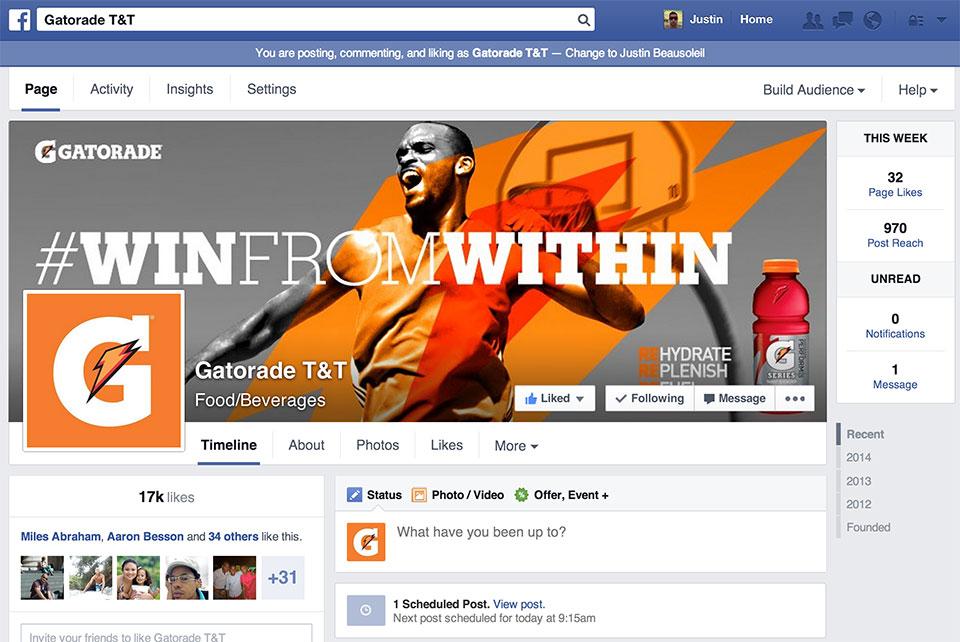 Gatorade t amp t facebook page iugo digital marketing